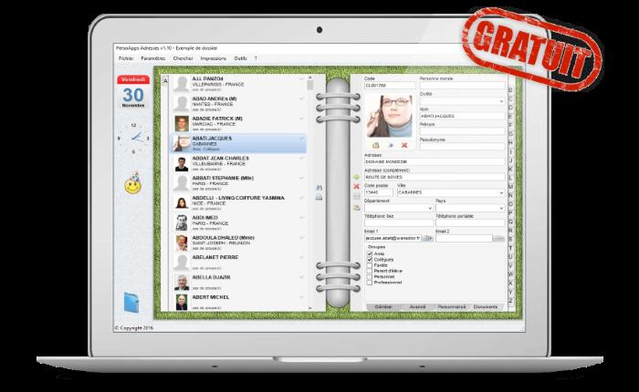 PersoApps Adresses - Logiciel de gestion de carnet d'adresses gratuit